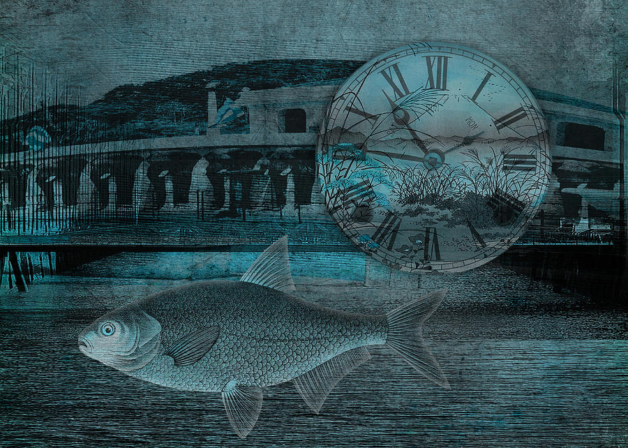 Clock Digital Art - Beating The Blues by Sarah Vernon