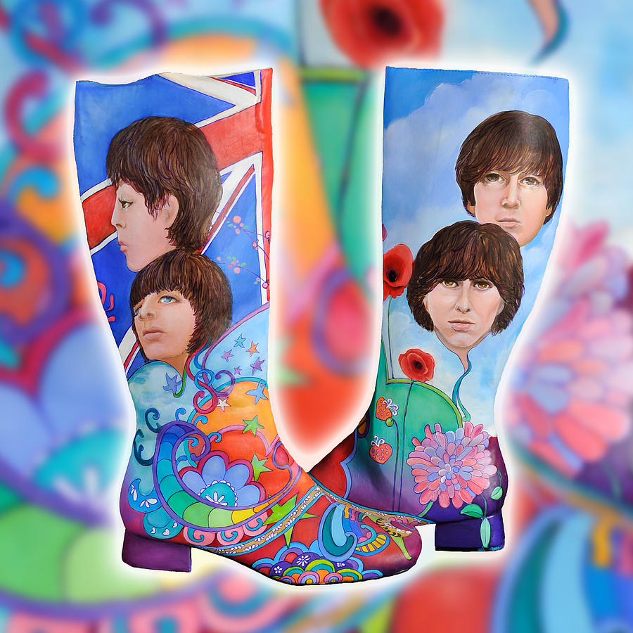 Beatle Painting - Beatle Boots by Mary Johnson