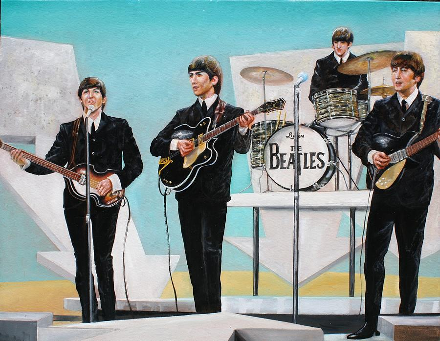 Beatles Painting - Beatles on Ed Sullivan by Leland Castro
