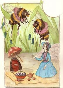 Fairy Painting - Beatrice Beckons Ballerina Bumblebees To Begin A Blueberry Breakfast by Linsay Blondeau