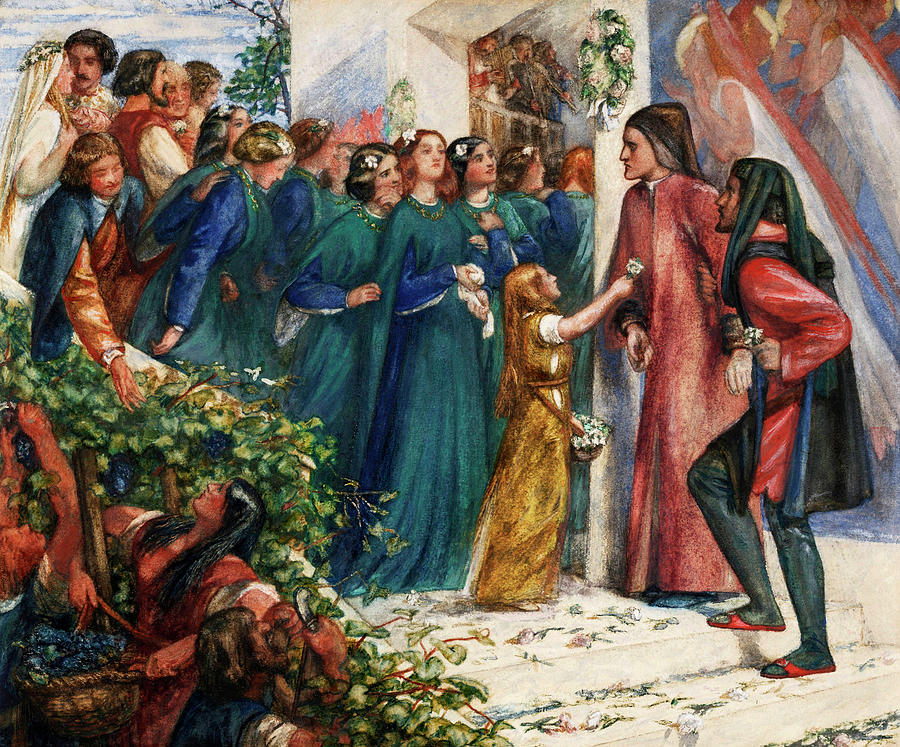 Marriage Painting - Beatrice Meeting Dante At A Marriage Feast, Denies Him Her Salutation by Dante Gabriel Rossetti
