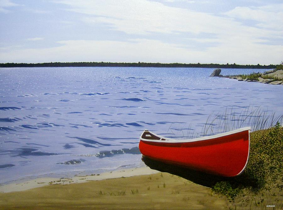 Canoes Painting - Beaultiful Red Canoe by Kenneth M  Kirsch