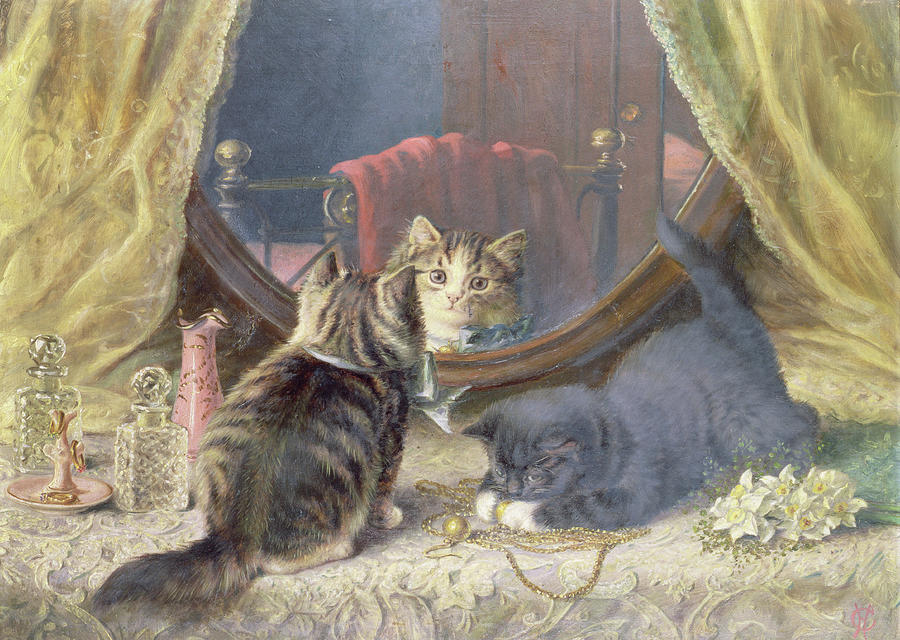 Kitten Painting - Beauties Toilet by Horatio Henry Couldery