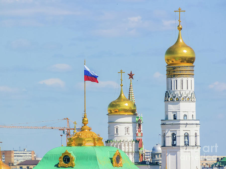 Beautiful And Famous View Of Moscow Kremlin Palace And Churches, Russia by  Alexey Larionov