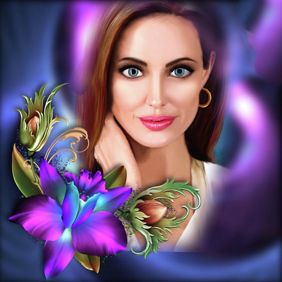 Angelina Jolie Digital Art - Beautiful Angie by Karen Showell
