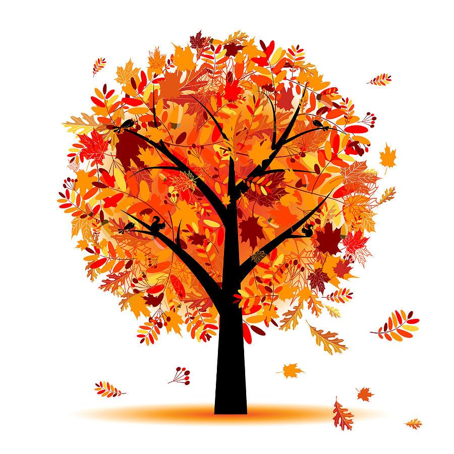 Beautiful Autumn Tree Drawing by Li Mei