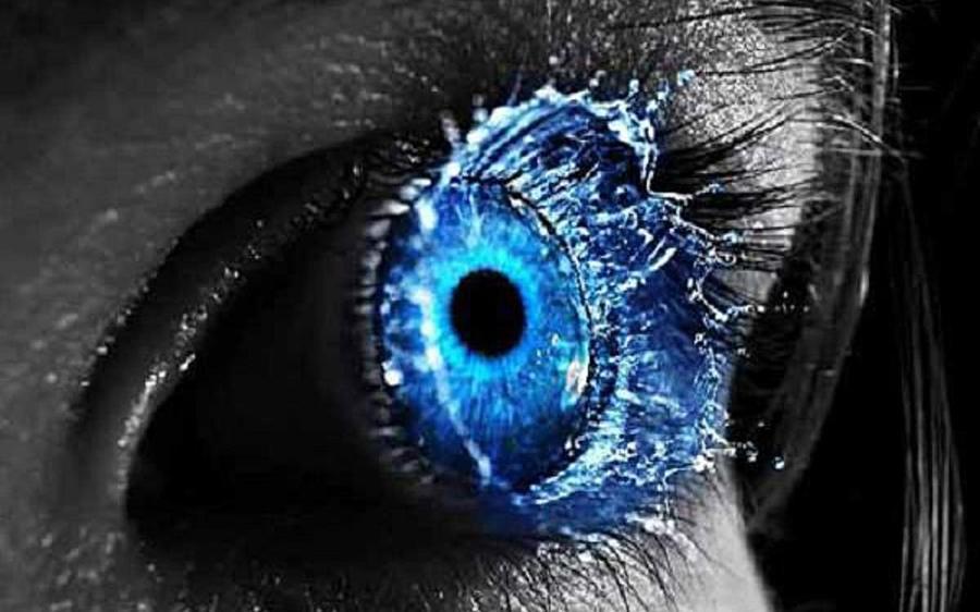 Beautiful Blue Eye With Water Drop Digital Art By Bojana Vojinovic