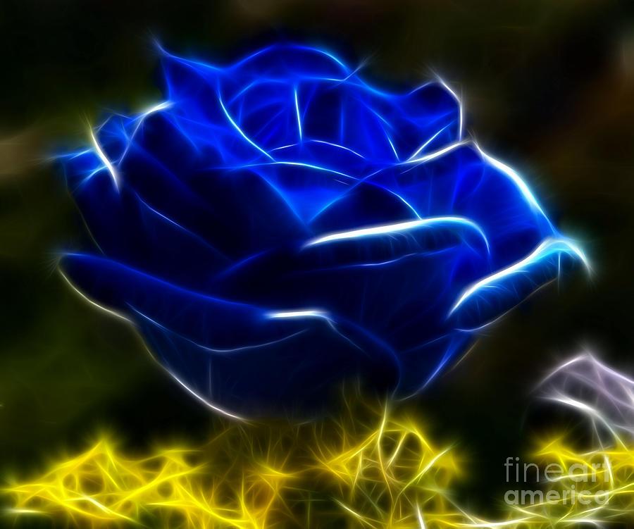 Beautiful Blue Rose Mixed Media By Pamela Johnson