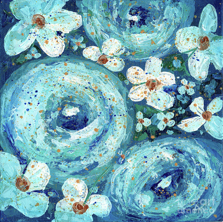 Flowers Painting - Beautiful Blues by Annie Troe