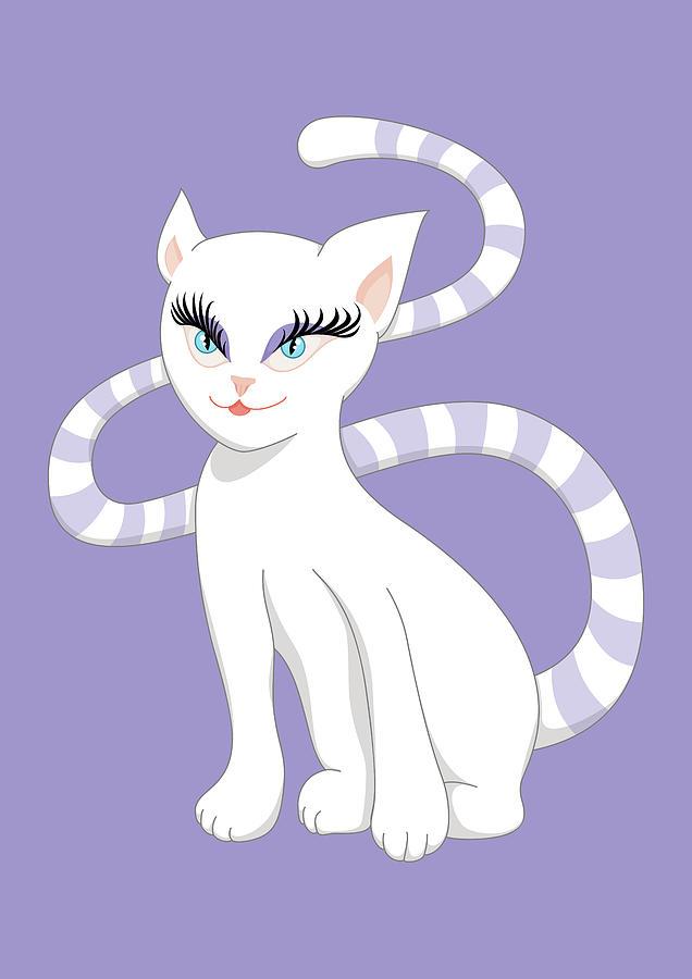Beautiful Cartoon Cute White Cat Digital Art By Boriana Giormova
