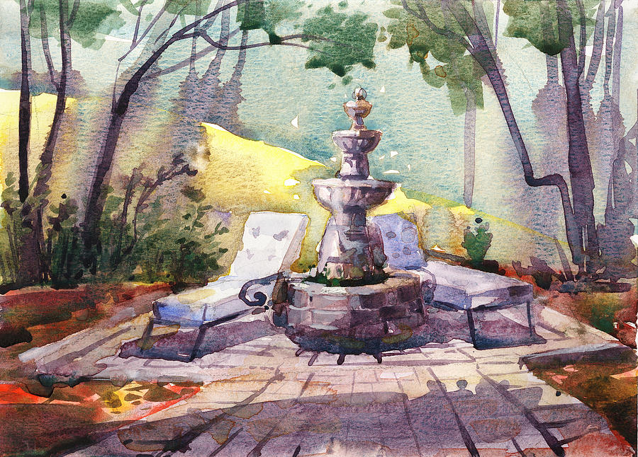 Fountains Painting - Beautiful Day, Home by Kristina Vardazaryan