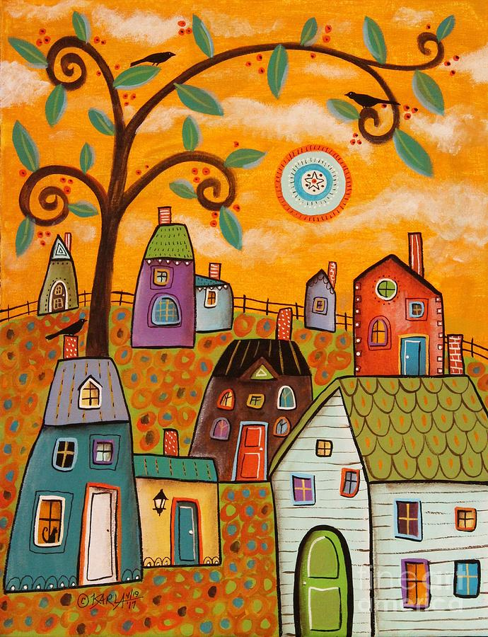 Houses Painting - Beautiful Day by Karla Gerard