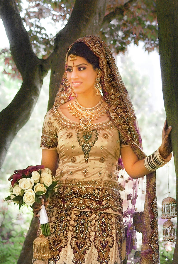 Beautiful East Indian Woman In Traditional Wedding Dress Photograph ...