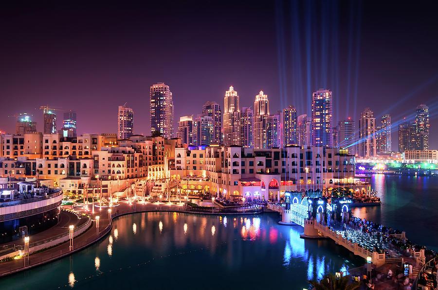 Dubai Photograph - Beautiful Famous Downtown Area In Dubai At Night, Dubai, United Arab Emirates by Marek Kijevsky