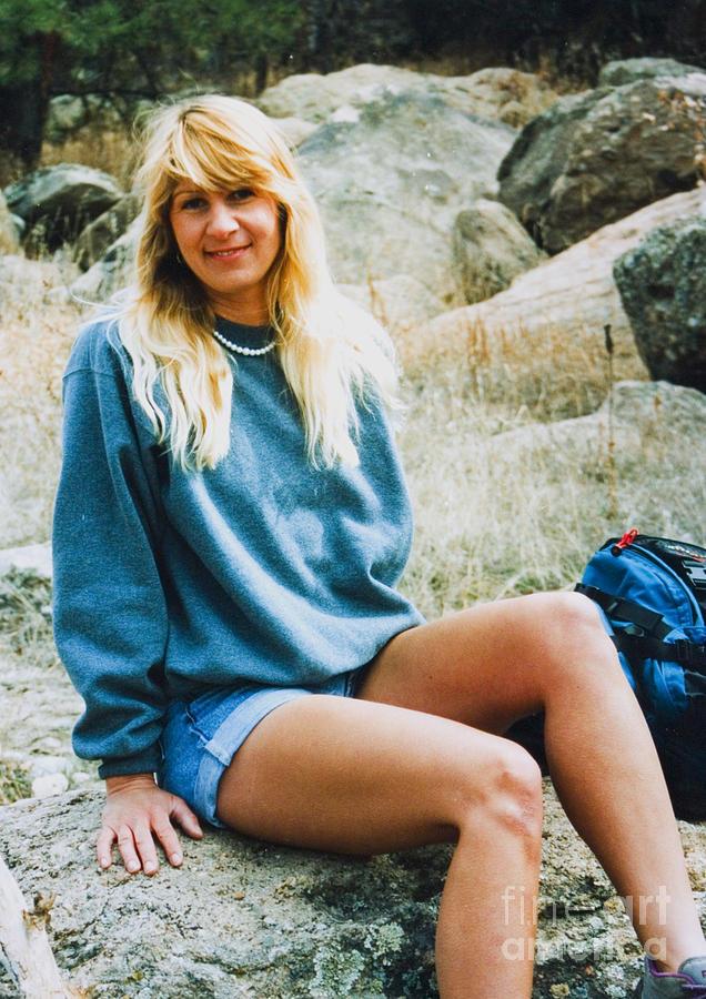 Beautiful Female Model Posing As A Hiker Photograph