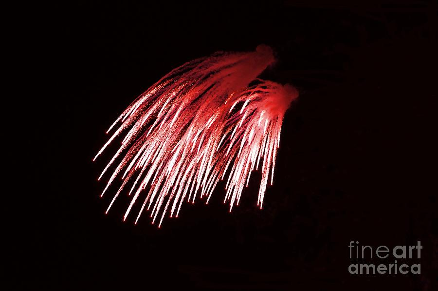 White Photograph - Beautiful Fire Works With Splash Of Red Color.  by Akshay Thaker PhotOvation