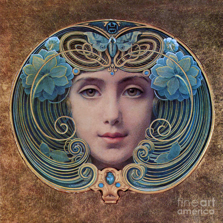 Beautiful French Art Nouveau Woman Painting by Tina Lavoie
