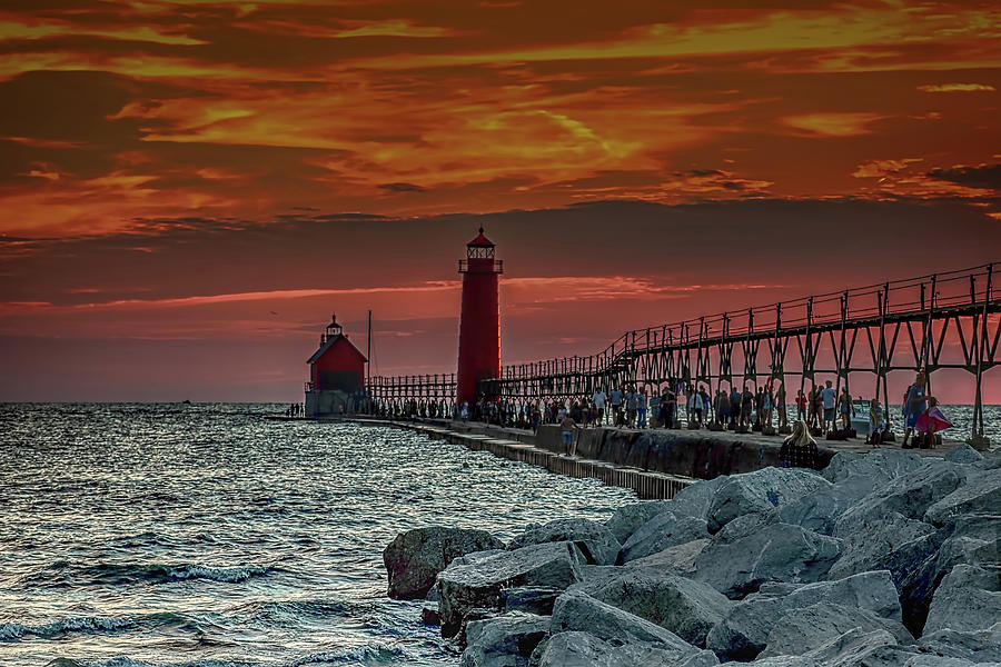 Sunset At Grand Haven Pier Photograph