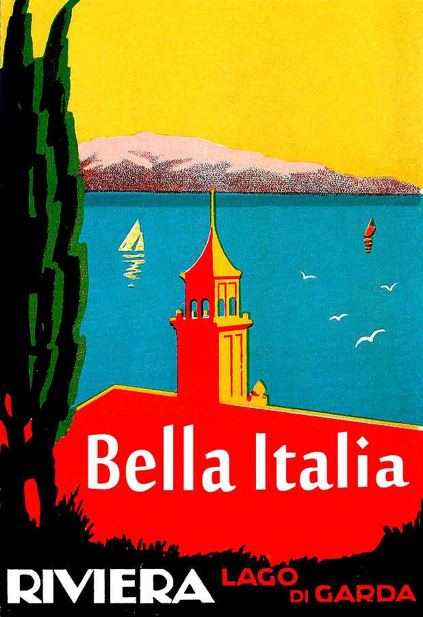 Lake Garda Painting - Beautiful Italy, Lake Garda, Riviera by Long Shot