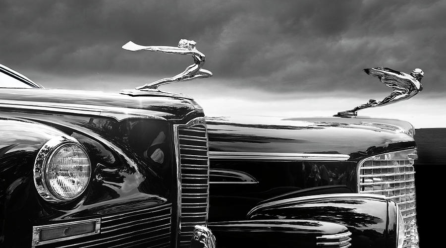 Automobiles Digital Art - Beautiful Lady Hood Ornaments by Larry Butterworth