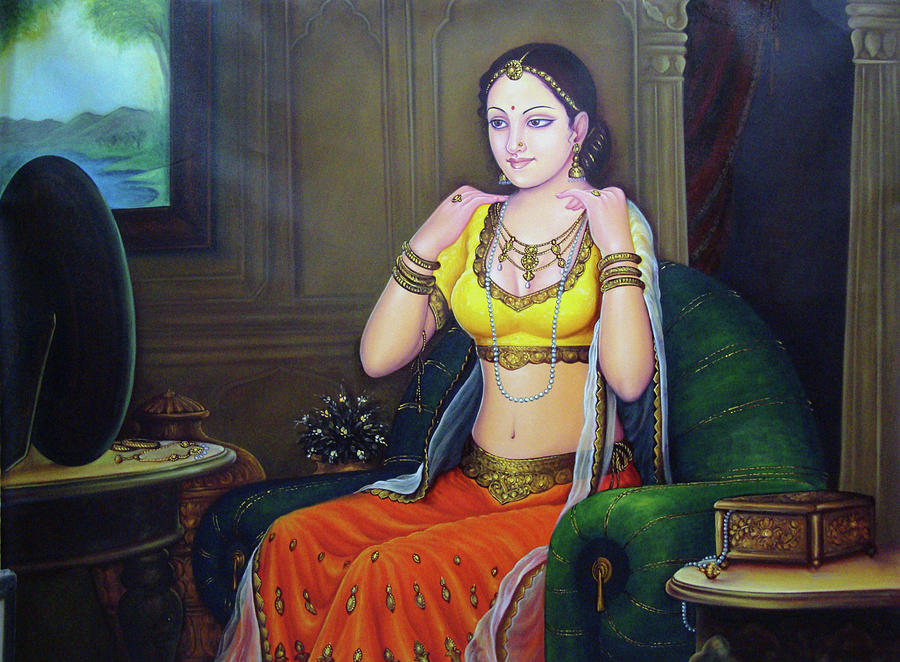 Beautiful Lady Queen Dressing Herself in Collectibles Art Indian  Traditional Canvas Oil Painting Painting by A K Mundra