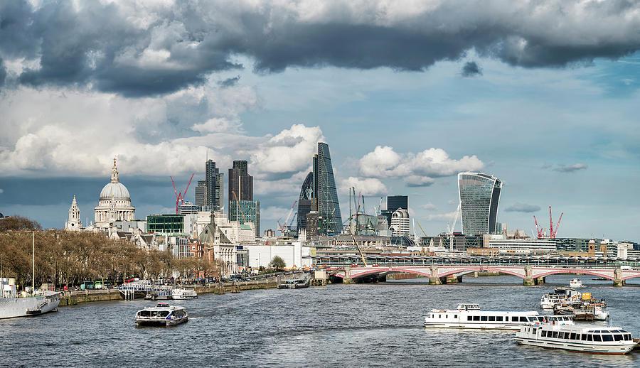Beautiful Landscape Image View From Waterloo Bridge Along River