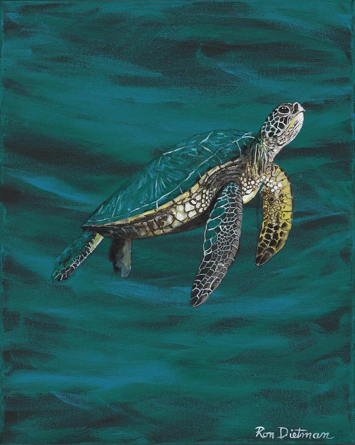 Green Sea Turtle Painting - Beautiful Little Green Sea Turtle by Ron Dietman