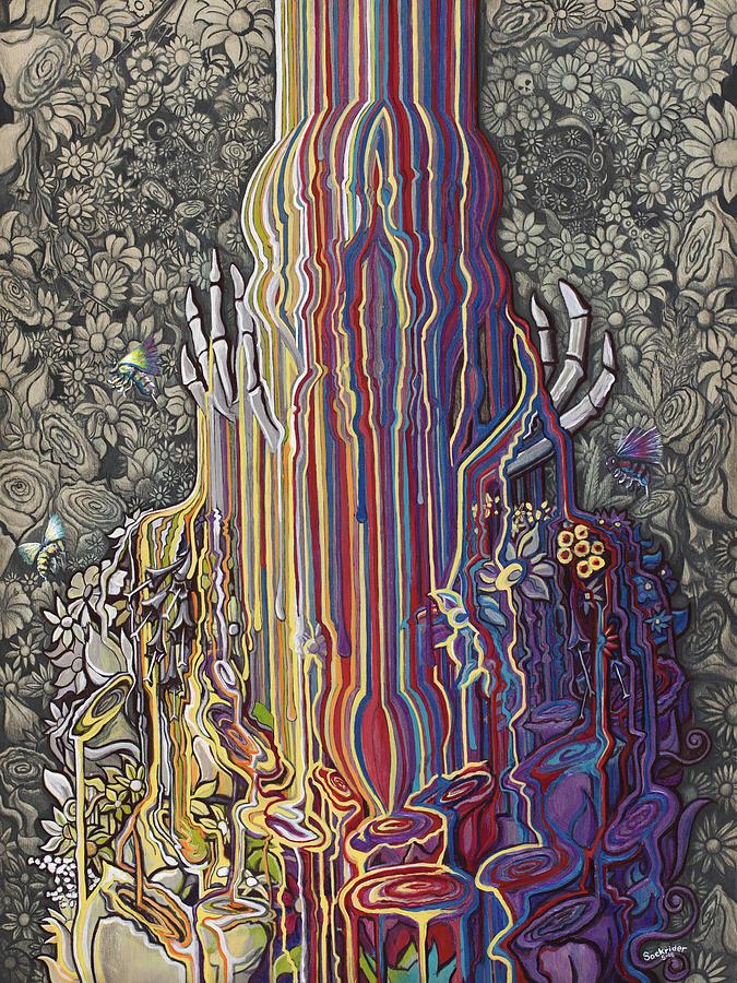 Skull Painting - Beautiful Meltdown by David Sockrider