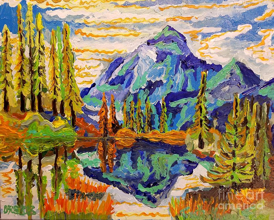 Acrylics Painting - Beautiful Mountainous Reflection  by Timothy Michael Foley
