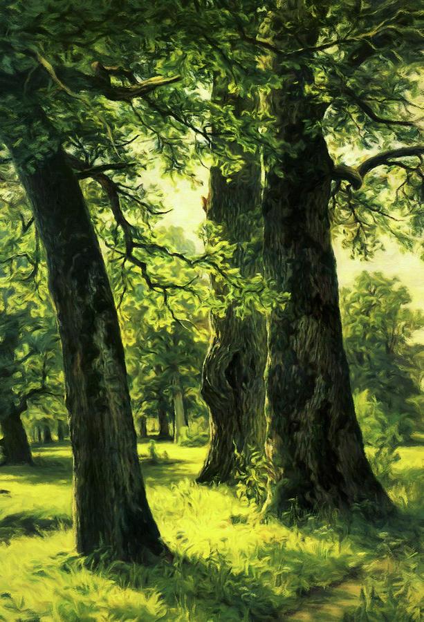 Oak Trees Mixed Media - Beautiful Oak Trees Reach To The Skies by Georgiana Romanovna