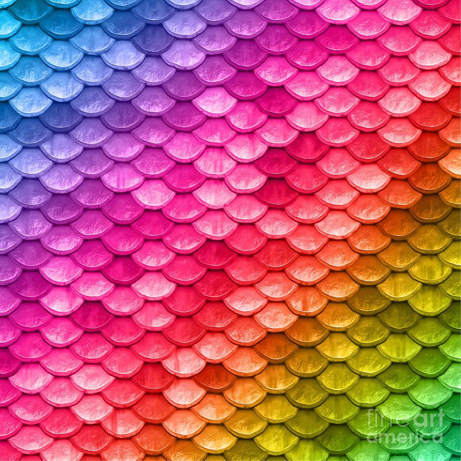 Beautiful Pastel Diagonal Rainbow Mermaid Fish Scales