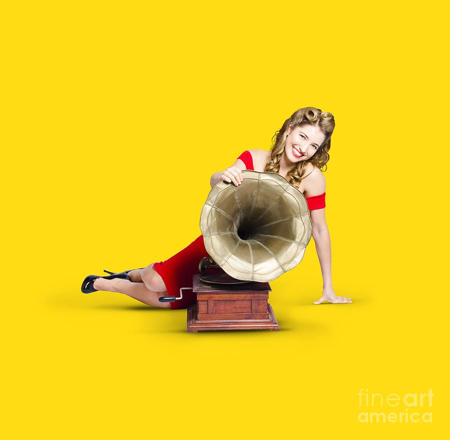 Beautiful Pinup Woman Listening To Old Gramophone Photograph by ...