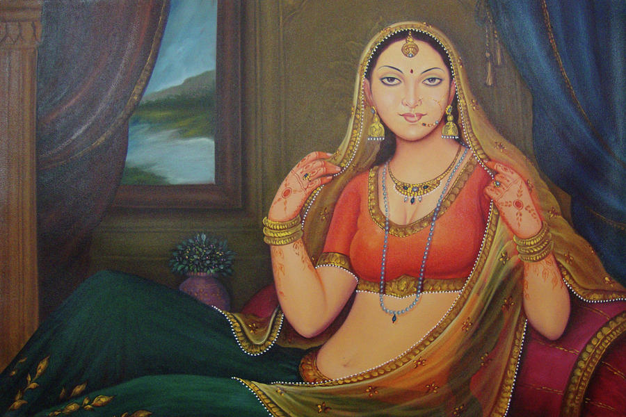 Beautiful Rajasthani Priness Gorgeous Looking Indian Traditional Canvas Oil  Painting Painting by M B Sharma