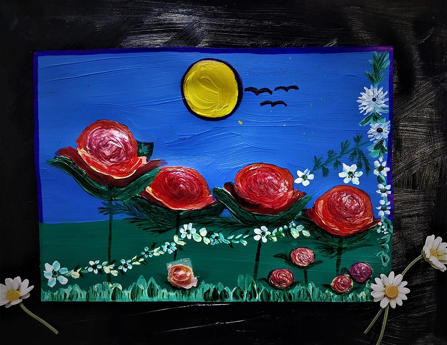 Red Roses Painting - Beautiful red roses by Lynette Fekete