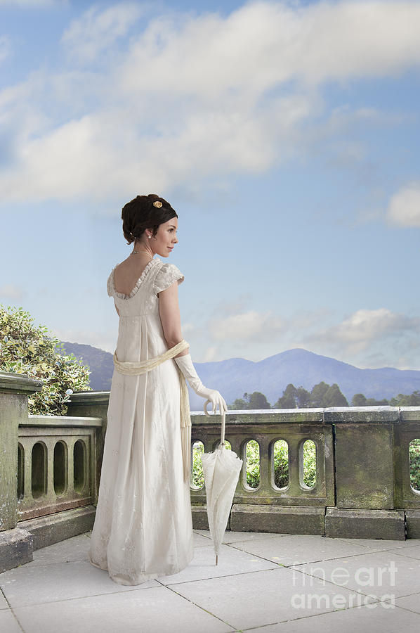 Regency Photograph - Beautiful Regency Woman Admiring The View From The Terrace by Lee Avison