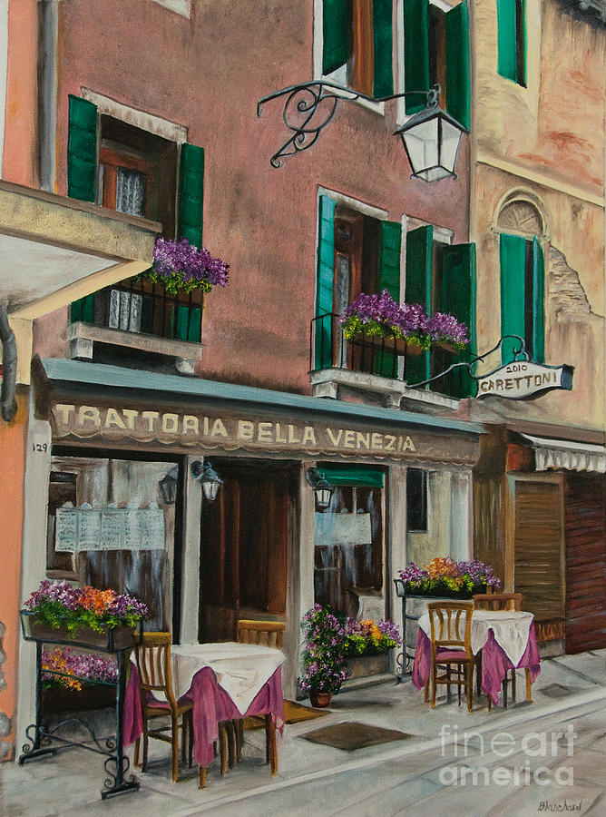 Restaurant Painting - Beautiful Restaurant In Venice by Charlotte Blanchard