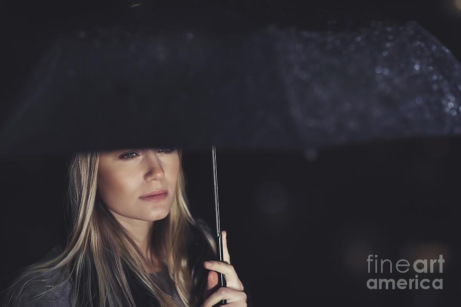Adult Photograph - Beautiful Sad Woman Under The Rain by Anna Om