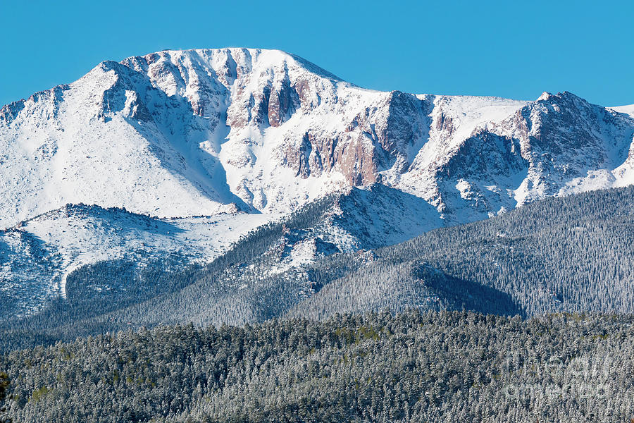 Beautiful Spring Snow On Pikes Peak Colorado Photograph