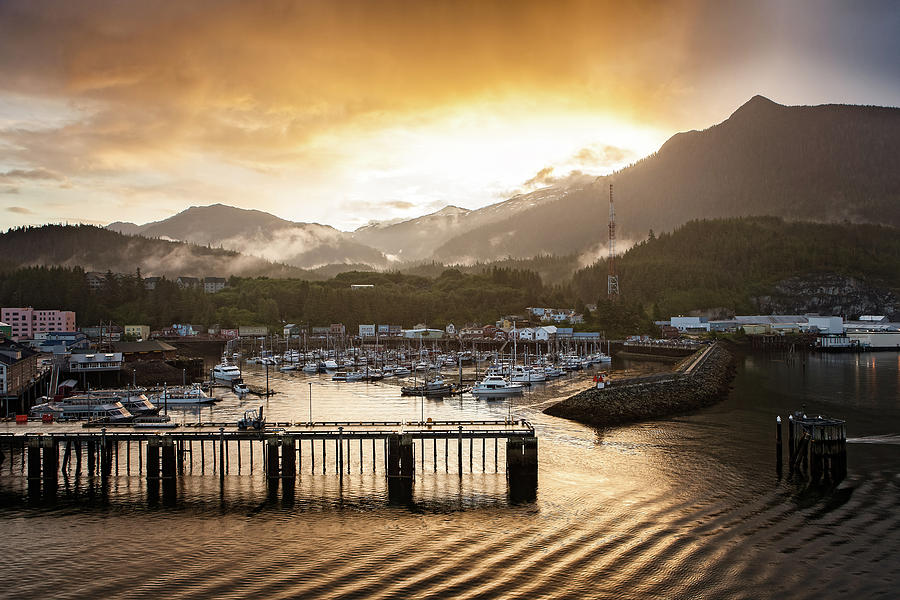 Beautiful Sunrise over the Marina in Skagway in Alaska, USA by Ami Parikh