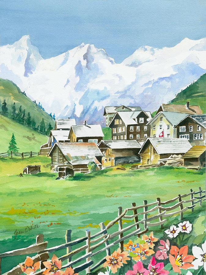 Mountains Painting Beautiful Switzerland By Jean Walker White