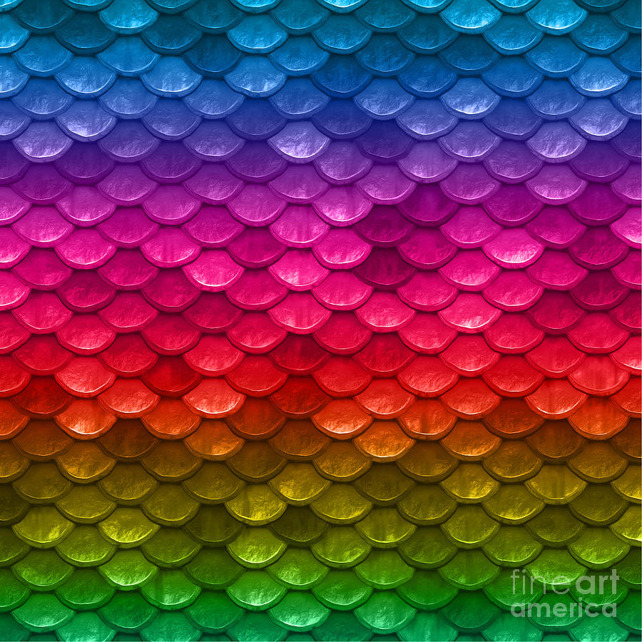Beautiful Vibrant Rainbow Colors Mermaid Fish Scales Digital Art by ...