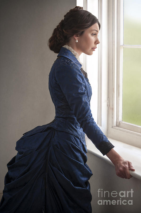 91e9781043e Beautiful Victorian Woman At The Window In A Blue Bussle Dress by Lee Avison