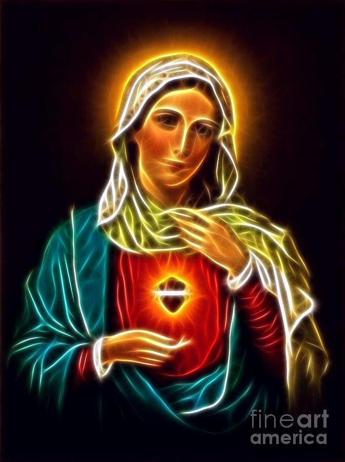Virgin Mary Mixed Media - Beautiful Virgin Mary Sacred Heart by Pamela Johnson