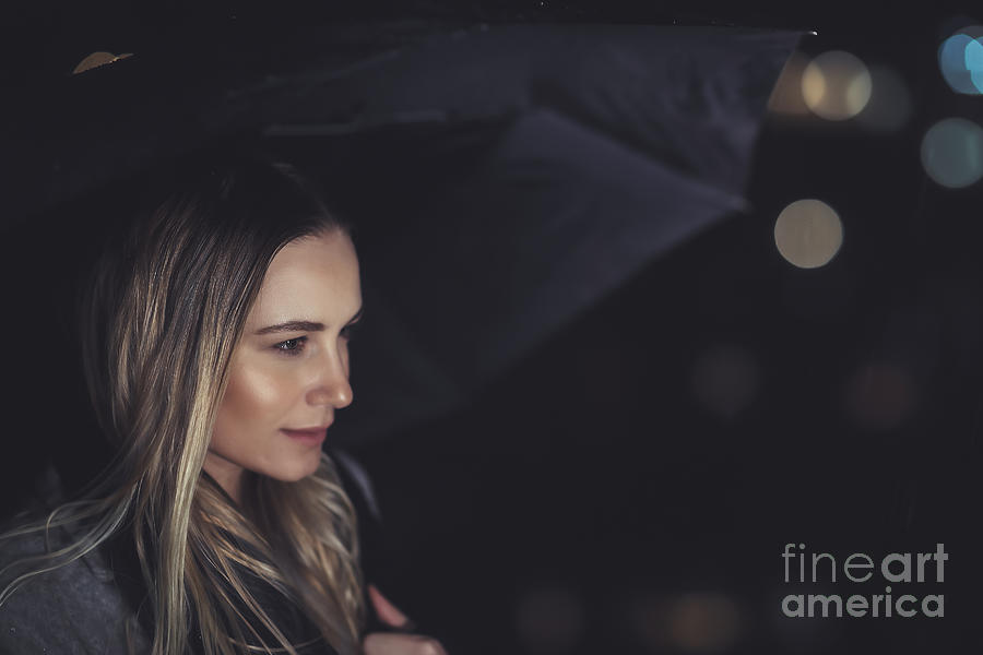 Adult Photograph - Beautiful Woman At Rainy Night by Anna Om