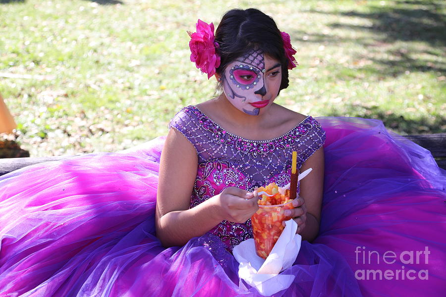 Dia De Los Muertos Photograph - Beautiful Woman Day Of Dead IIi by Chuck Kuhn