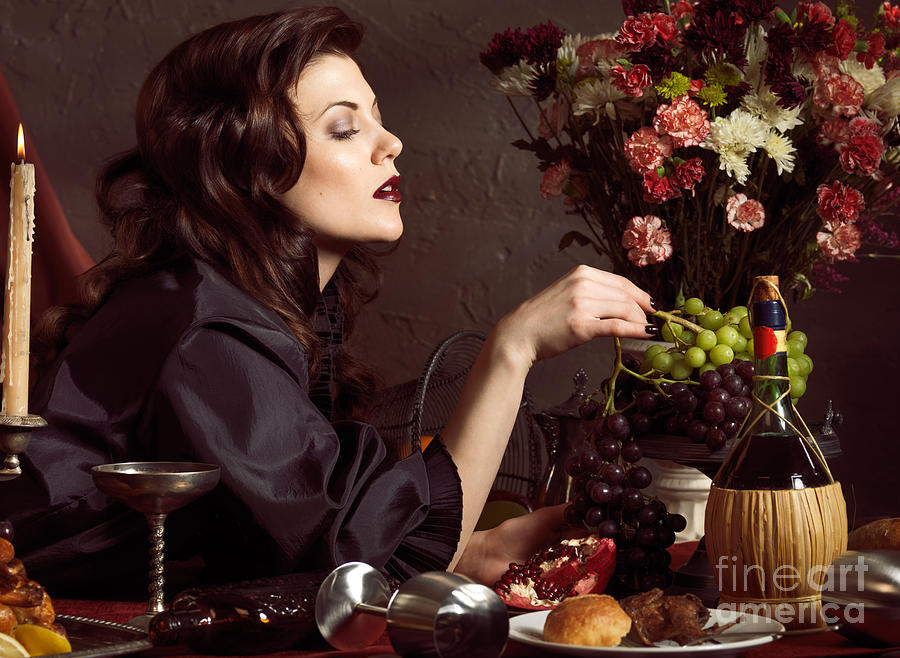 Fashion Photograph - Beautiful Woman On A Festive Table by Oleksiy Maksymenko