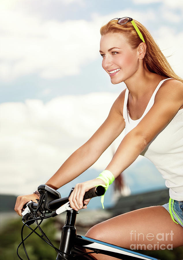 Active Photograph - Beautiful Woman On The Bicycle by Anna Om
