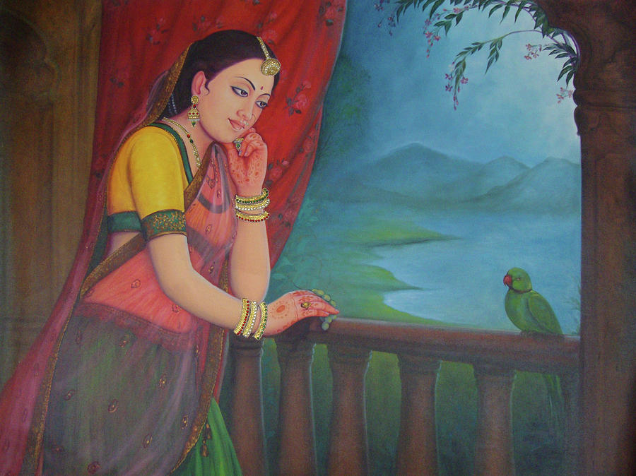 Beautiful Woman Princess Queen Waiting For Her Husband Traditional Art Oil  Painting On Canvas Painting by M B Sharma