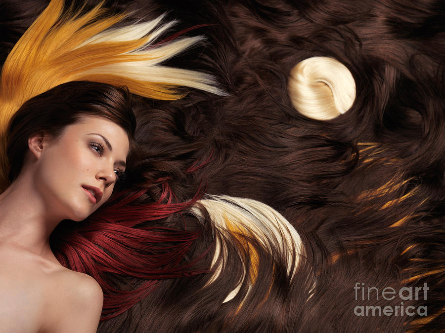Hair Photograph - Beautiful Woman With Colorful Hair Extensions by Oleksiy Maksymenko