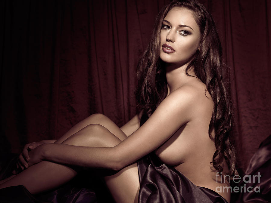 Glamour Photograph - Beautiful Young Woman Sitting Naked In Bed by Oleksiy Maksymenko